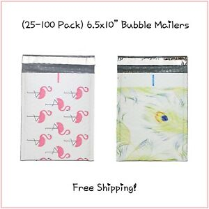 25 100 Pack 6 5x10 Mix Flamingo peacock Bubble Mailers free Shipping