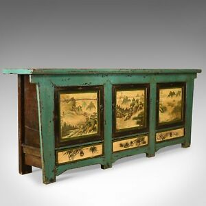 Vintage Sideboard Chinese Painted Buffet 19th Century Revival Mid Late C20th