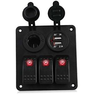 3 Gang Marine Ignition Toggle Rocker Switch Panel Waterproof With Digital 3 1a