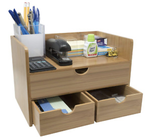 Desktop Bamboo Wood Shelf Office Desk 3 Drawer Organizer Storage Set Supplies