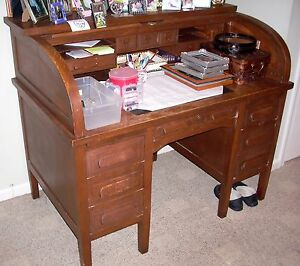 Antique Roll Top Desk Solid Oak C Signed Standard All Original Great