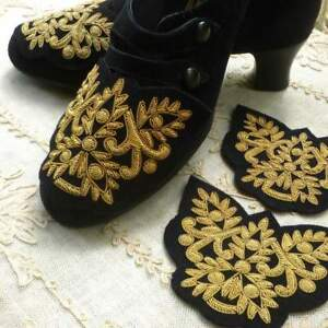 Vintage Hand Embroidered Gold Metal Bullion Applique