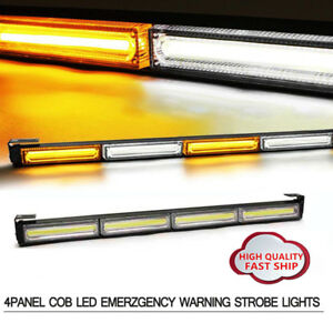 Led Cob Emergency Warning Beacon Traffic Advisor Strobe Light Bar Amber White