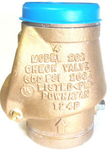 4 Powhatan Bronze Grooved Swing Check Valve 300psi Ul fm Fire Protection