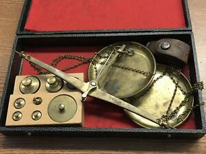 Antique Brass Balance Scale Weights Made In West Germany Ruper Loupe Magnifier