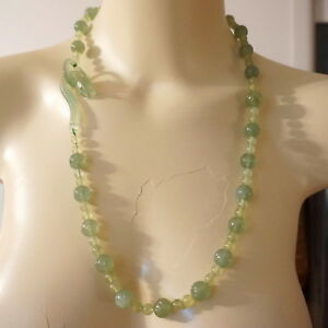 Fine 1920 S Antique Chinese Carved Jade Jadeite Bead Necklace Dragon Head Clasp