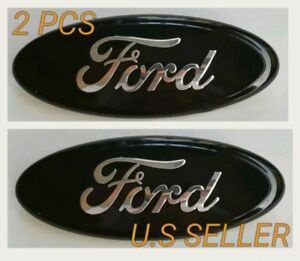 Black Chrome 2005 2014 Ford F150 Front Grille Tailgate 9 Inch Oval Emblem 2pcs
