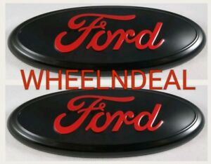 Black Red 2005 2014 Ford F150 Front Grille Tailgate 9 Inch Oval Emblem 2 Pcs