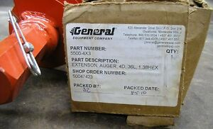 New General Equipment Extension Earth Auger 5500 4x3 3 Ft Depth Item 8591