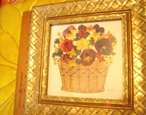Vtg 1960s Real Pressed Flowers Carved Woven Framed Picture Decal Wood Plaque Lot
