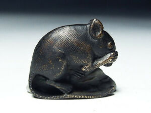 Late Edo Meiji Antique Japanese Silver Mouse Tobacco Ornament Vintage Netsuke