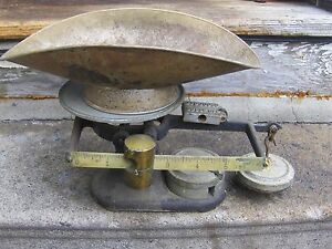 Vintage Fairbanks Scale Cast Iron W Brass And Basket And 3 Weights