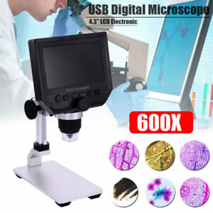 Portable 4 3 1080p Hd Oled 3 6mp 1 600x Magnifier Lcd Digital Microscope G600