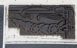 Rare Ornament Letterpress Wood Printing Block Very Rare Art Nouveau Printer