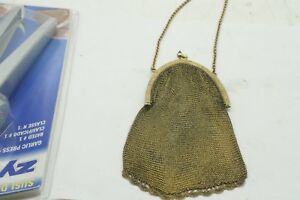 Hallmarked Silver Mesh Chain Mail Bag Purse 925 Sterling Silver Gold Tone