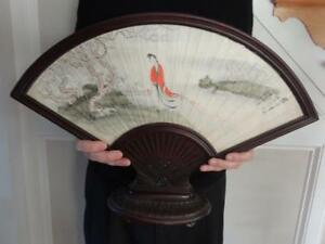 Chinese Wang Yun Framed Fan Leaf Painting Lady In A Garden Sign