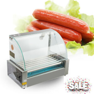Electric 18 Hot Dog 7 Roller Grill Cooker Machine With Cover 1050w New