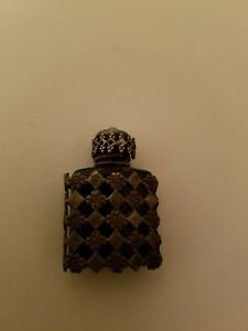Vintage French Miniature Glass Filigree Perfume Bottle With Glass Dauber