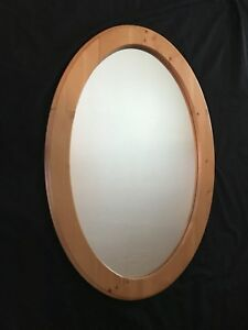 30 X 20 Large Oval Contempery Mirror Light Wood Frame
