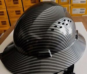 Safety Hard Hats Hat Hdpe Hydro Dipped Black Full Brim With Fas trac Suspension