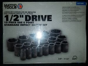 Matco Tools 1 2 dr 19 Pc Sae 6pt Impact Socket Set scp196v