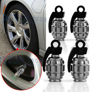 Gray Wheel Tire Valve Stem Cap Grenade Bomb Style Air Dust Cover Caps For Mazda