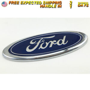 6 Blue Chrome Rear Grille Backup Tailgate Emblem Oval Decal Badge For Ford