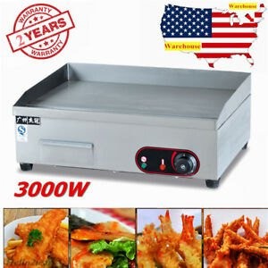 3000w Electric Griddle Flat Hotplate Stainless Steel Commercial Grill Cooking