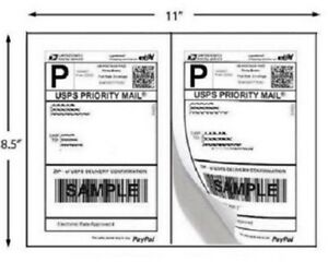 Shipping Labels 100 200 400 500 Self Adhesive Half Sheet Round Corner Usps Mail