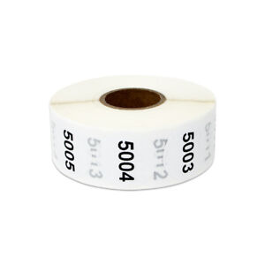 1 Round Consecutive Numbers 5001 To 6000 Stickers Inventory Control Labels 10pk