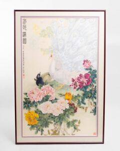Large Chinese Silk Painting White Black Peacocks Peonies 31 Wide X 49 Tall