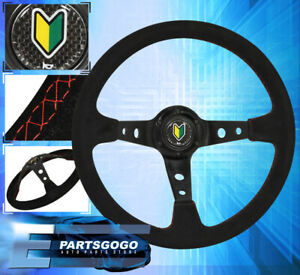 Universal 350mm Jdm Steering Wheel Suede Leather Red Stitching Deep Dish 6 Bolt