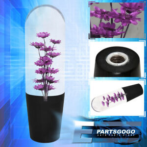 Universal 150mm Purple Flower Filled Poly Jdm Vip Shift Knob Clear Transparent