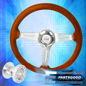 Light Wood Aluminum Center Deep Dish Steering Wheel + Adapter For 96-00 Civic