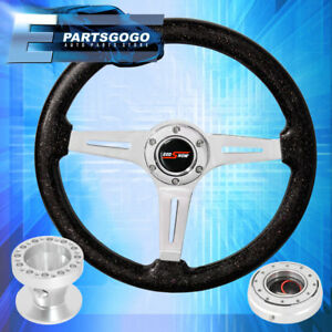 Metallic Black Steering Wheel Silver Quick Release Hub For 89 98 240sx