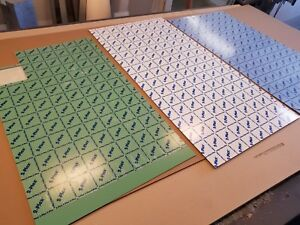 Lot 3 Sheets Gravograph 2 plex Material 24 x48 Blue Green White On Clear