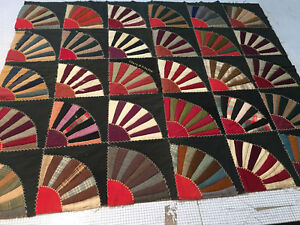 Antique Late Victorian Hand Stitched Wool Fan Quilt Top