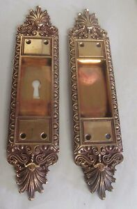 Fancy Set Antique Victorian Polished Brass Bronze Pocket Door Pulls 3 Bargain