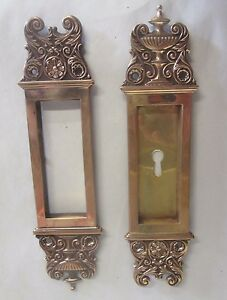 Fancy Set Antique Victorian Polished Brass Bronze Pocket Door Pulls 12