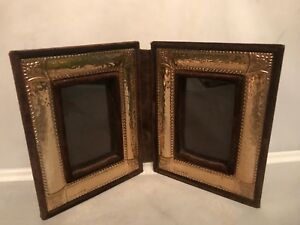 Vtg 60 S Sterling Silver 925 Repousse Double Folding Picture Photo Frame 9x5 5