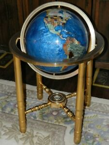 Large Gemstone Brass Floor Stand World Globe W Compass 38 Tall 25 Wide