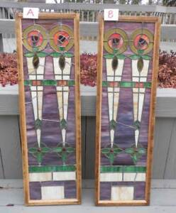 Antique Art Deco Stained Leaded Glass Windows Set Of 2 Restored