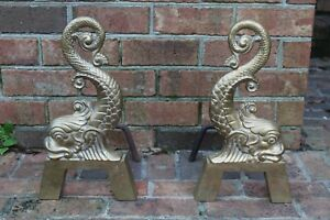 16 25 Koi Fish Dolphin Brass Andirons Fire Dogs Antique 11 Pounds Each Vtg
