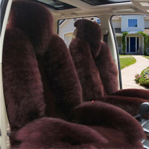 New 2pcs Genuine Sheepskin Fur Car Seat Covers Front Seat Covers Set Universal