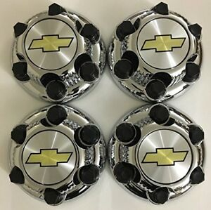 4pcs Chrome Chevy Silverado 1500 Tahoe 6 Lug Center Caps Fr 16 17 Steel Rims