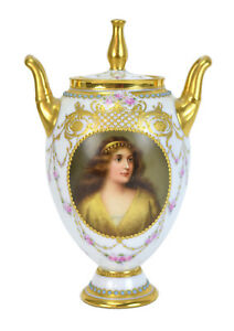 Royal Vienna Hand Painted Porcelain Portrait Vase Preciosa Signed Wagner