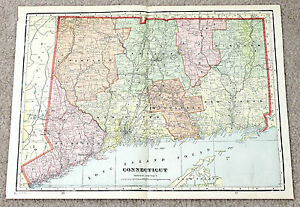 1907 Connecticut Railroad Map Original George Cram Engraving New Haven Antique