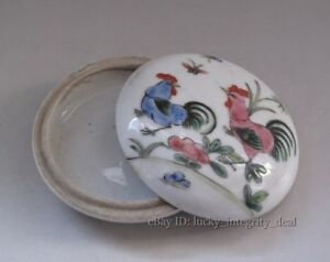 Old Chinese Famille Rose Porcelain Ink Box
