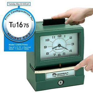 Acroprint 125er3 Heavy Duty Manual Time Recorder For Day Of The Week And Hour