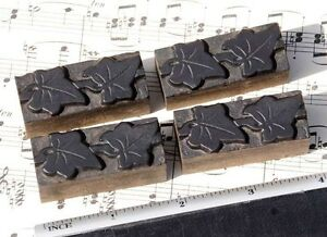 4x Ivy Wood Letterpress Ornaments Wooden Printing Blocks Type Frame Line Antique